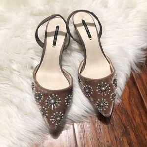 ZARA Embroidered Velvet Sling Back Shoes